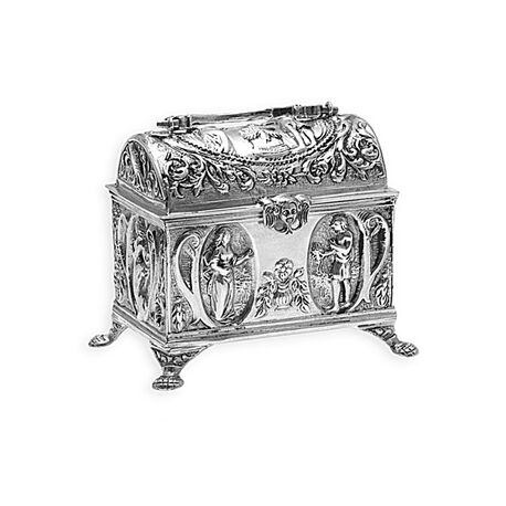 Zilveren knottekistje huwelijks kistje