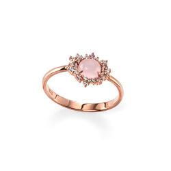 Elements ring rose verguld rozenquartz zirkonia R3311p