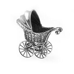 Miniatuur Zilveren Poppenwagentje