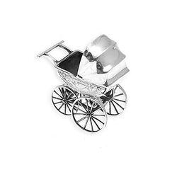 Miniatuur Zilveren Kinderwagen Grave