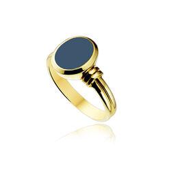Gouden zegelring blauwe lagensteen