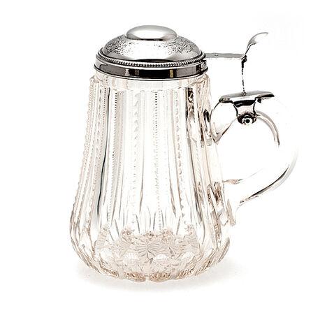 Antiek Kristallen Bierpul Zilveren Deksel