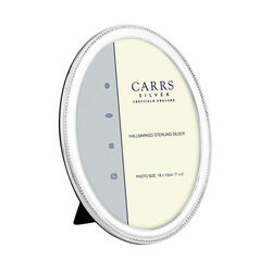 Grote ovale zilveren fotolijst parelrand Carrs NBO4