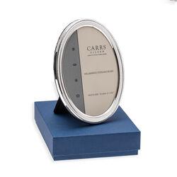 ovale zilveren fotolijst met een parelrand Carrs nbo3 kan ook hangend