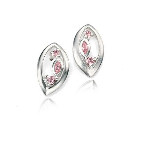 Zilver oorstekers roze zirconia ELements