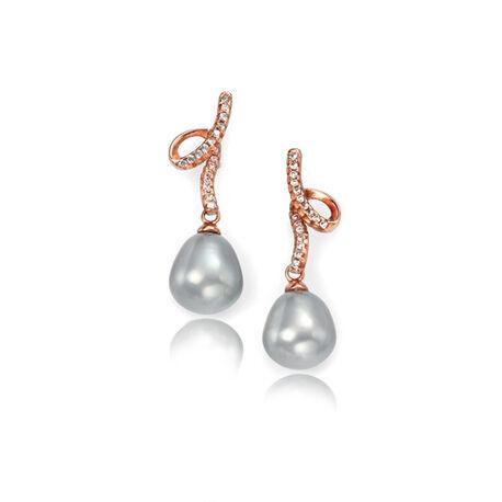 Roséverguld zilver oorbellen grijze parel met zirconia Elements
