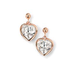 Elements oorstekers hart rosé met Swarovski