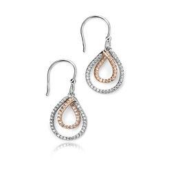 Elements zilveren oorhangers zirkonia rosé E4875C