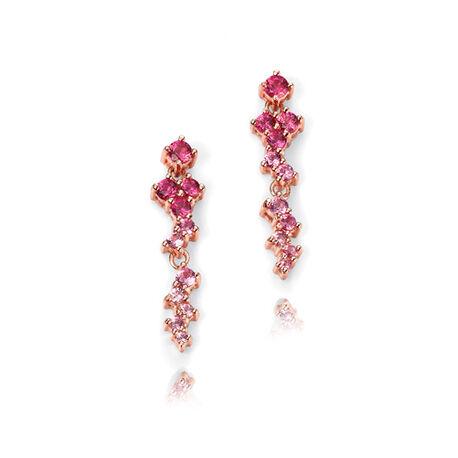 Zilveren oorstekers met roze zirkonia
