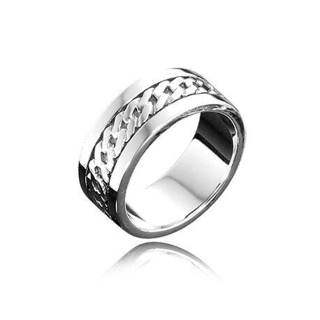 Zilveren herenring breed bandpatroon r3046