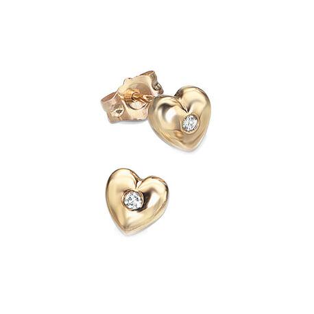 Gouden kinderoorbellen hart met diamant GE101