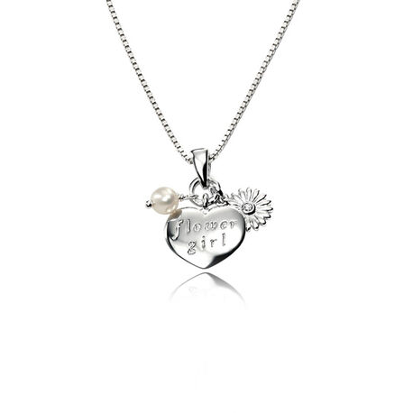 Zilver kettinkje hart flower girl D for Diamond P3114w