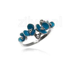 Gl Zilveren Ring Blauw Emaille Bloemen