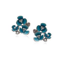 Gl Oorstekers Bloemen Blauw Emaille