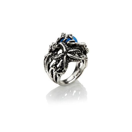 Zilveren ring koraal met zeester en blauw zirkonia Giovanni Raspini