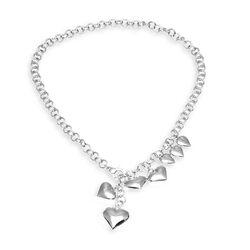 Zilveren ketting met hartjes