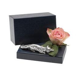 Zilveren vos tafelstuk miniatuur