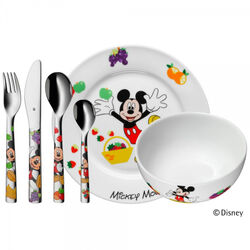 Mickey Mouse 6 Delige Bestek Set Met Porselein