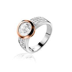 Zinzi Ring Zirkonia Rose Verguld Zir213d