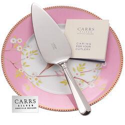 Taartmes taartschep met kartels zilveren heft Carrs graveerbaar