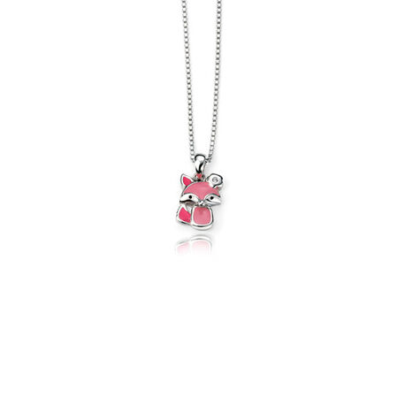 Zilver kinderkettinkje roze vosje D for Diamond P4182