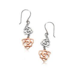 Zilver oorhangers deels rosé roosjes E4973 Elements