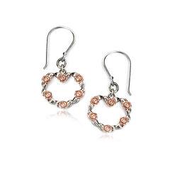 Zilver oorhangers hart bloem rosé Elements