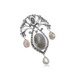 Zilveren Broche Labradoriet Markasiet Opaal