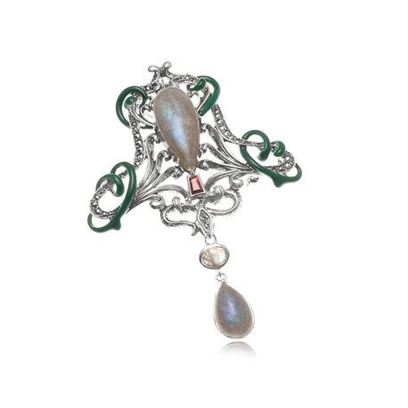 Zilveren broche of hanger met labradoriet markasiet en granaat