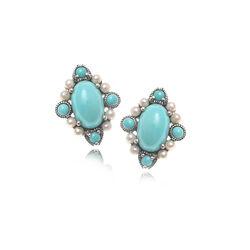 Zilveren oorstekers turkoois parels