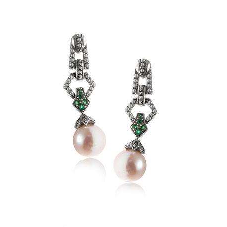 zilveren oorbellen smaragd markasiet en parels