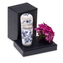porselein parfumflesje met zilver montuur