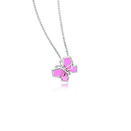 Zilver kettinkje roze origami vlinder D for Diamond