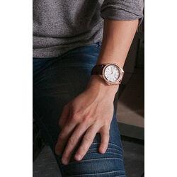 Rosé verguld stalen horloge met bruin leren band