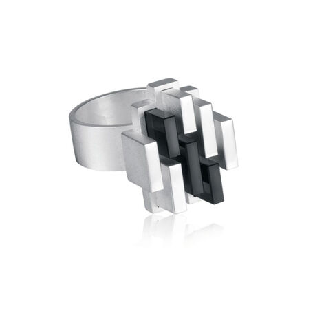 Zilveren ring met onyx Manhattan Lapponia 650785