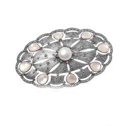 zilveren broche hanger parel en edelstenen