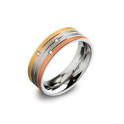 Boccia titanium ring tricolor drie briljantjes 0135-02