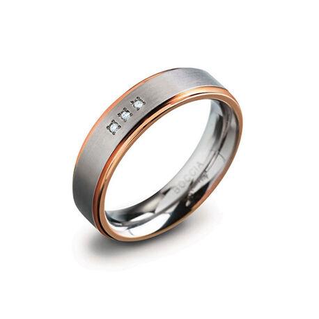 Titanium ring bicolor 3 briljant 0134-02 Boccia