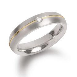 Boccia titanium ring verguld briljant 0130-06