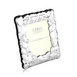Zilveren geboorte fotolijst van Carrs met speelgoed ch3-ss