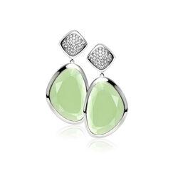 Zilveren lange oorhangers licht groen zirkonia