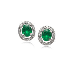 Smaragd oorbellen met briljant