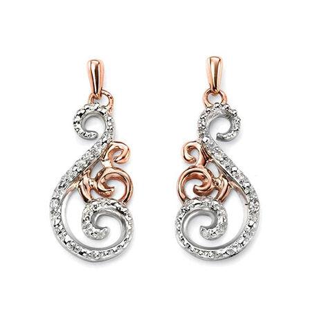 Gouden oorbellen met diamant Elements Gold GE928