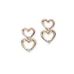 Elements oorstekers hartje met diamantje