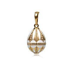 Fabergé hanger verguld zilver wit emaille met zirkoon