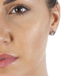 zilver oorbellen hart diamantje DE434 Hot Diamonds
