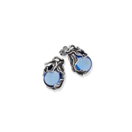 Zilver oorbellen Blauw orchidee giovanni Raspini