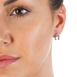 Zilver oorbellen lucky hoefijzers diamantje DE439 Hot Diamonds