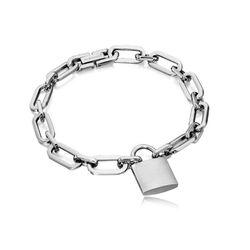 Fred Bennett Stalen Armband Met Een Hangslot B4731