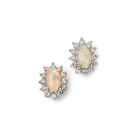 Elements 9 Karaats Oorstekers Opaal Diamant GE954W